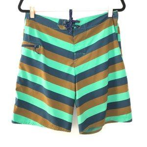 Patagonia Size 32 Wavefarer Striped Board Shorts